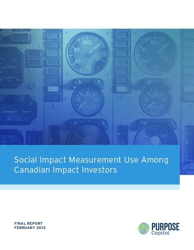 Social Impact Measurement Use Among Canadian Impact Investors