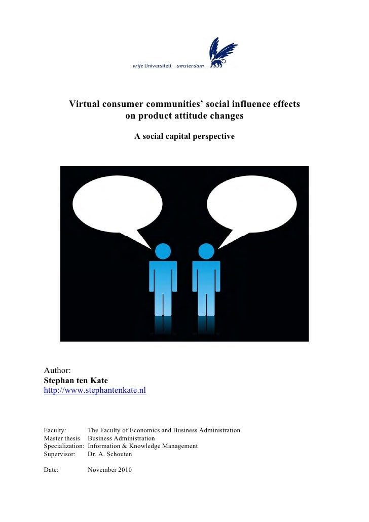 Virtual consumer communities' social influence effects                      on product attitude changes                   ...