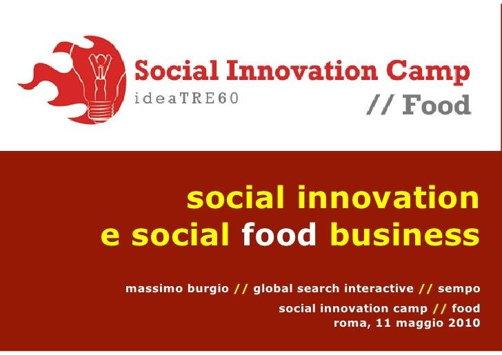 Social Innovation Camp Food Roma Massimo Burgio