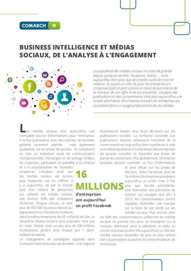 BI  BUSINESS INTELLIGENCE ET MÉDIAS SOCIAUX, DE L'ANALYSE À L'ENGAGEMENT La popularité des médias sociaux ne cesse de gran...