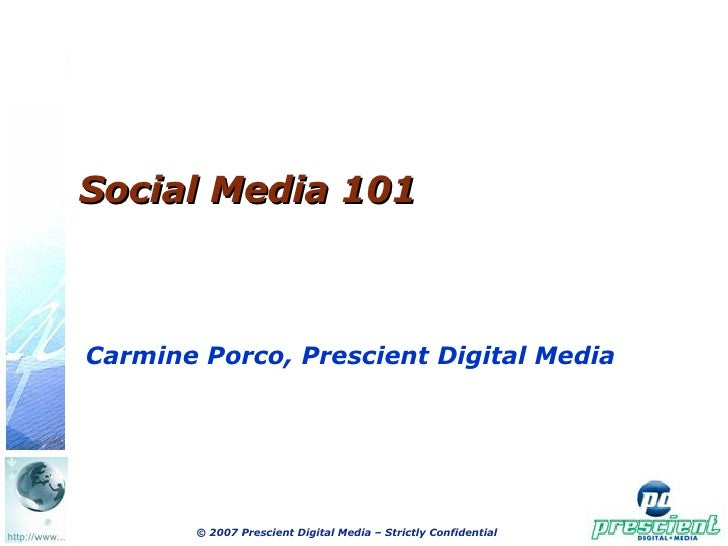 Social Media 101 For Scn Oct 28, Carmine Porco