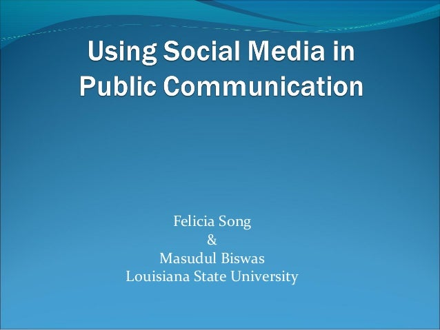 Using Social Media in Public Communication