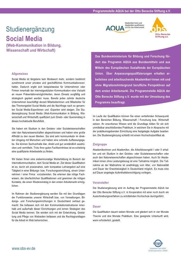 Programmstelle AQUA bei der Otto Benecke Stiftung e.V.StudienergänzungSocial Media(Web-Kommunikation in Bildung,Wissenscha...