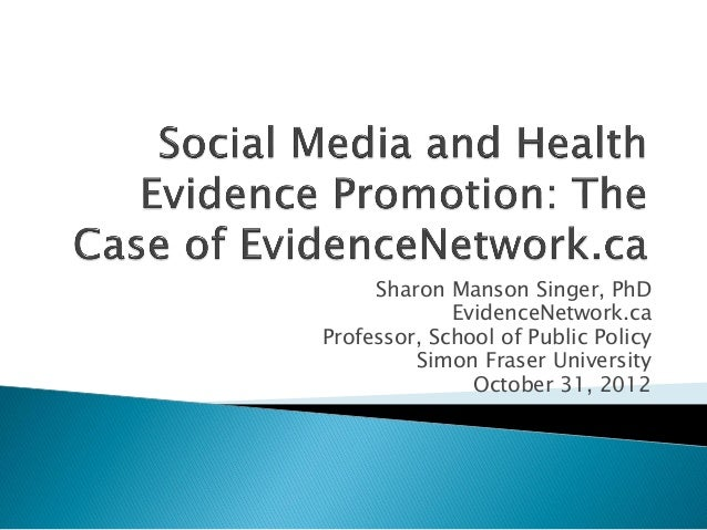 Social Media and Health Evidence Promotion