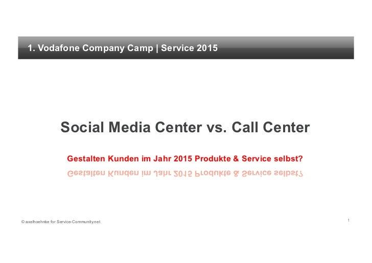 1. Vodafone Company Camp | Service 2015                   Social Media Center vs. Call Center                      Gestalt...