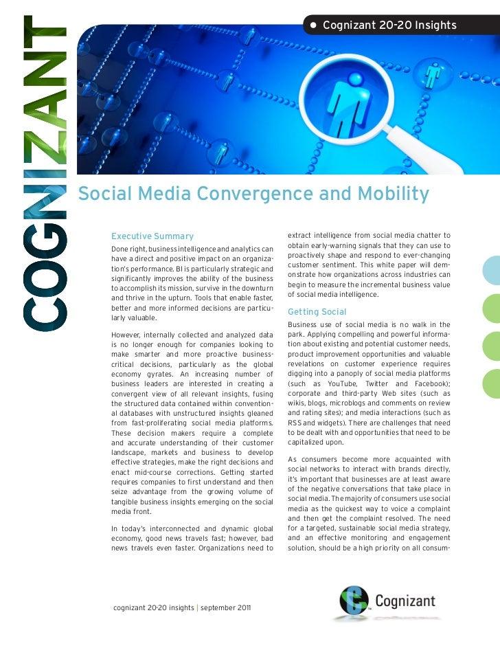 • Cognizant 20-20 InsightsSocial Media Convergence and Mobility   Executive Summary                                      e...