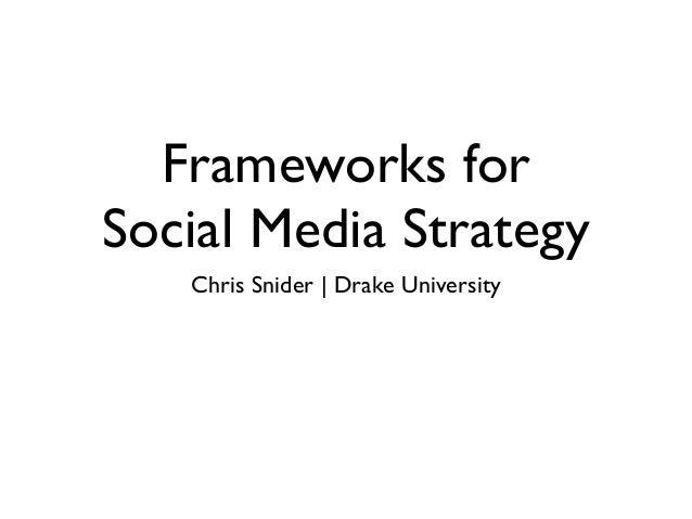 Frameworks for Social Media Strategy Chris Snider | Drake University