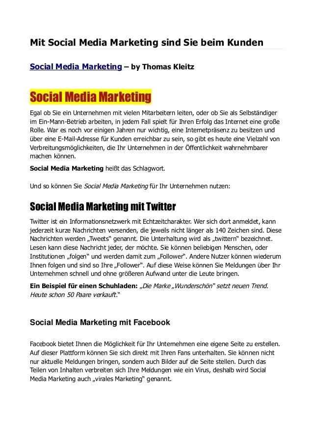 Mit Social Media Marketing sind Sie beim Kunden