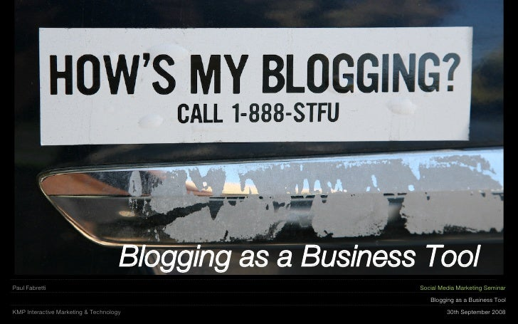 KMP - Social Media Marketing Seminar   Blogging For Business