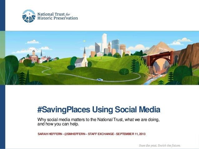 #SavingPlaces Using Social Media Why social media matters to the National Trust, what we are doing, and how you can help. ...