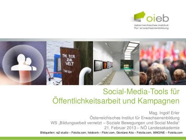 Social-Media-Tools für         Öffentlichkeitsarbeit und Kampagnen                                                        ...