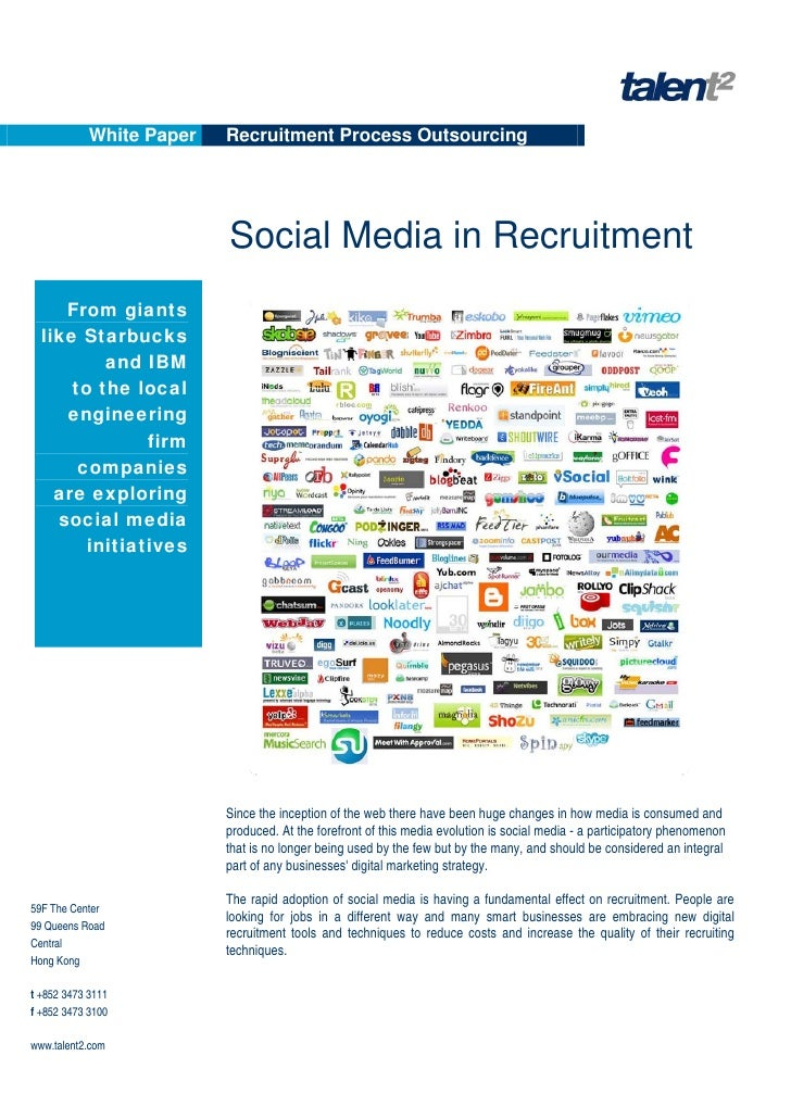 White Paper   Recruitment Process Outsourcing                               Social Media in Recruitment      From giants  ...