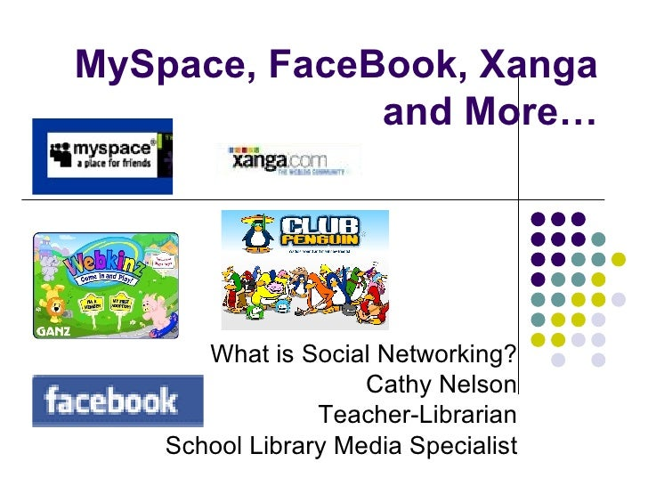 MySpace, FaceBook, Xanga and More… What is Social Networking? Cathy Nelson Teacher-Librarian School Library Media Specialist