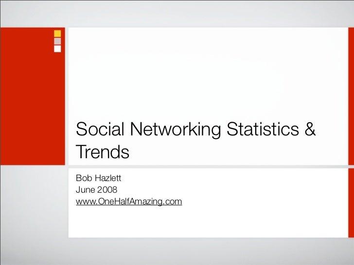 Social Networking Statistics & Trends Bob Hazlett June 2008 www.OneHalfAmazing.com