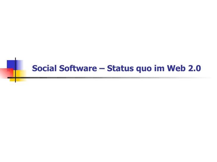 Social Software – Status quo im Web 2.0