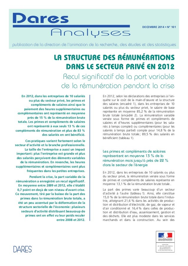 En 2012, selon les déclarations des entreprises à l'en- quête sur le coût de la main-d'œuvre et la structure des salaires ...