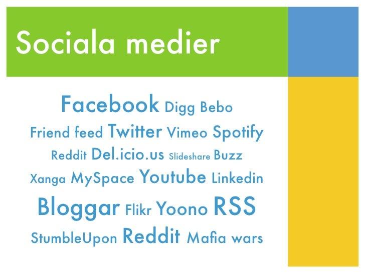 Sociala medier      Facebook Digg Bebo  Friend feed   Twitter Vimeo Spotify          Del.icio.us Slideshare Buzz     Reddi...