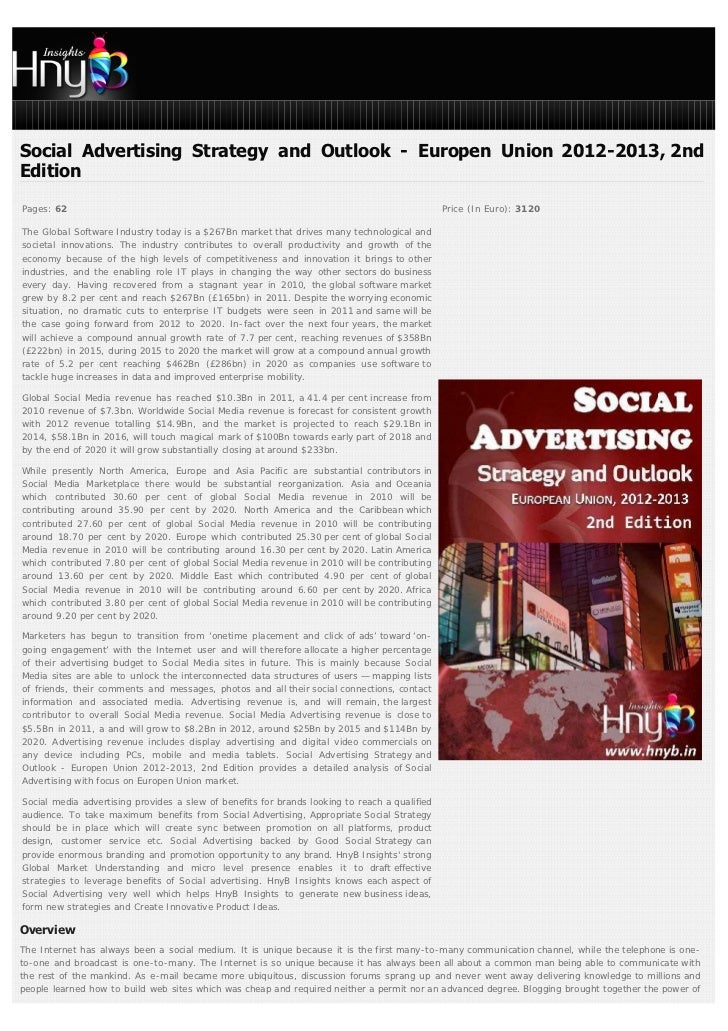 Social Advertising Strategy and Outlook - Europen Union 2012-2013, 2ndEditionPages: 62                                    ...