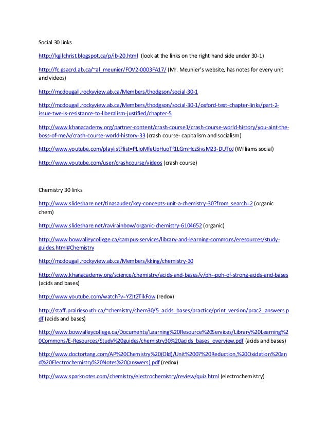 Social 30 links http://kgilchrist.blogspot.ca/p/ib-20.html (look at the links on the right hand side under 30-1) http://fc...