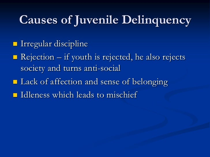 an overview of the possible causes of juvenile delinquency Delinquency 3although juvenile arrest or conviction is a predictor of arrest or conviction in adulthood, the seriousness of the juvenile offense appears to be a better predictor of continued, serious delinquency in adulthood 4individual family variables are moderately strong predictors of subsequent delinquency in offspring.
