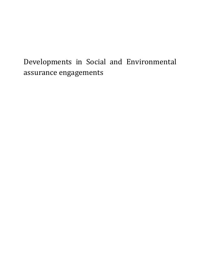 Developments in Social and Environmentalassurance engagements