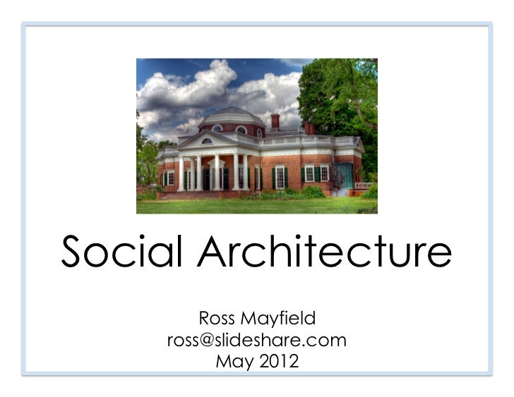 Social                           Architecture Ross Mayfield  ross@slideshare.comDigital October, 5/11/12