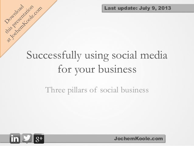 Successfully using social media for your business Three pillars of social business JochemKoole.com Last update: July 9, 20...