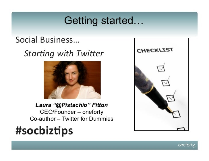 "Getting started…Social	  Business…	  	  	  	  	  	  Star%ng	  with	  Twi-er	  	  	  	  	  	      Laura ""@Pistachio"" Fitton..."