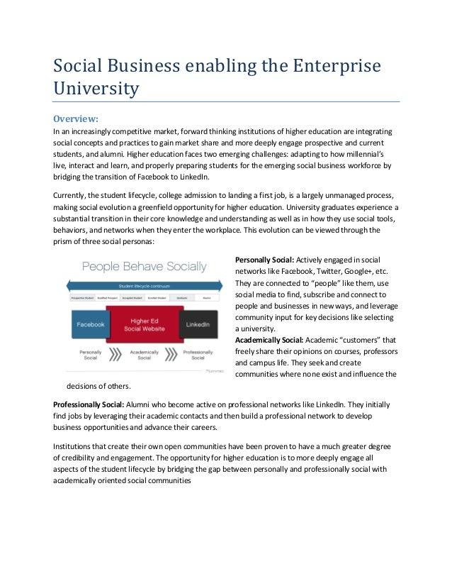 Social Business enabling the EnterpriseUniversityOverview:In an increasingly competitive market, forward thinking institut...