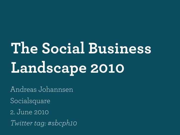 The Social Business Landscape 2010 Andreas Johannsen Socialsquare 2. June 2010 Twitter tag: #sbcph10