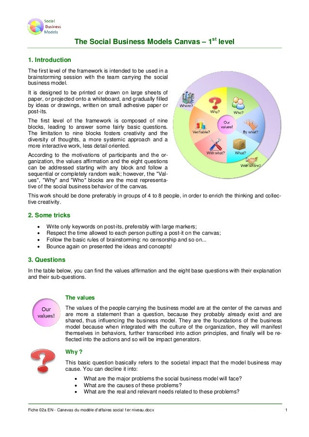 The Social Business Models Canvas – 1st level 1. Introduction The first level of the framework is intended to be used in a...