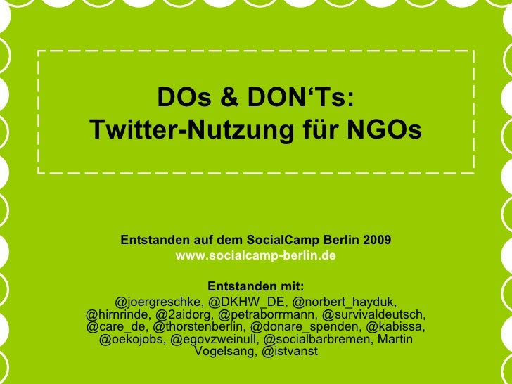 DOs and DONTs - Twitter für NGOs