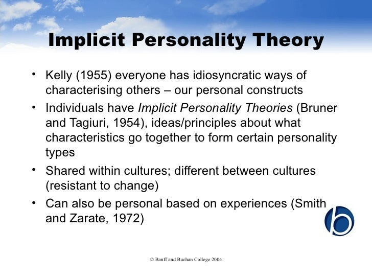 implicit personality theory and stereotypes essay