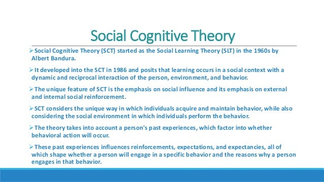 cognitive social learning theory The environment is comprised of social observational learning how individuals, environments, and health behaviors interact: social cognitive theory.