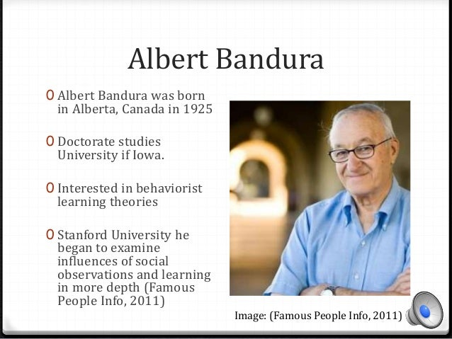 albert bandura essay 2 Psychologist albert bandura proposed social learning theory, which emphasizes the importance of observational learning learn more about what social learning theory is, basic concepts of this learning theory, and how observational learning occurs.