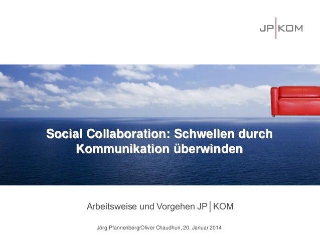 Social Collaboration: Schwellen durch Kommunikation überwinden  Arbeitsweise und Vorgehen JP│KOM Jörg Pfannenberg/Oliver C...
