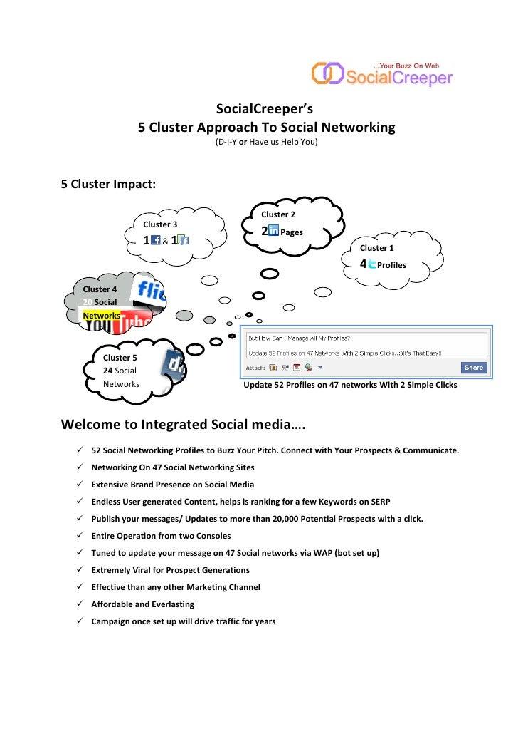 SocialCreeper's                  5 Cl s er pproac To Social Ne working                                        (D-I-Y or Ha...