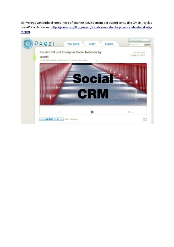 Social crm forum 2011 06   michael krebs - wir können alles außer social crm warum auch im enterprise 2.0 viele prozesse immer noch eins null sind