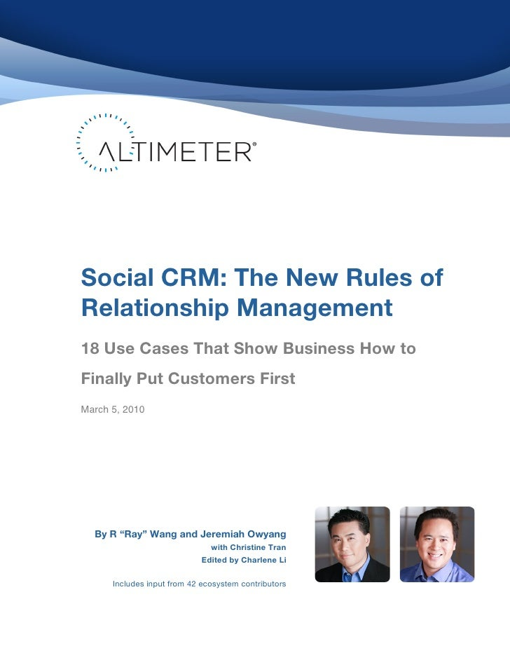 Social CRM: 18 Use Cases of Social CRM by Altimeter Group