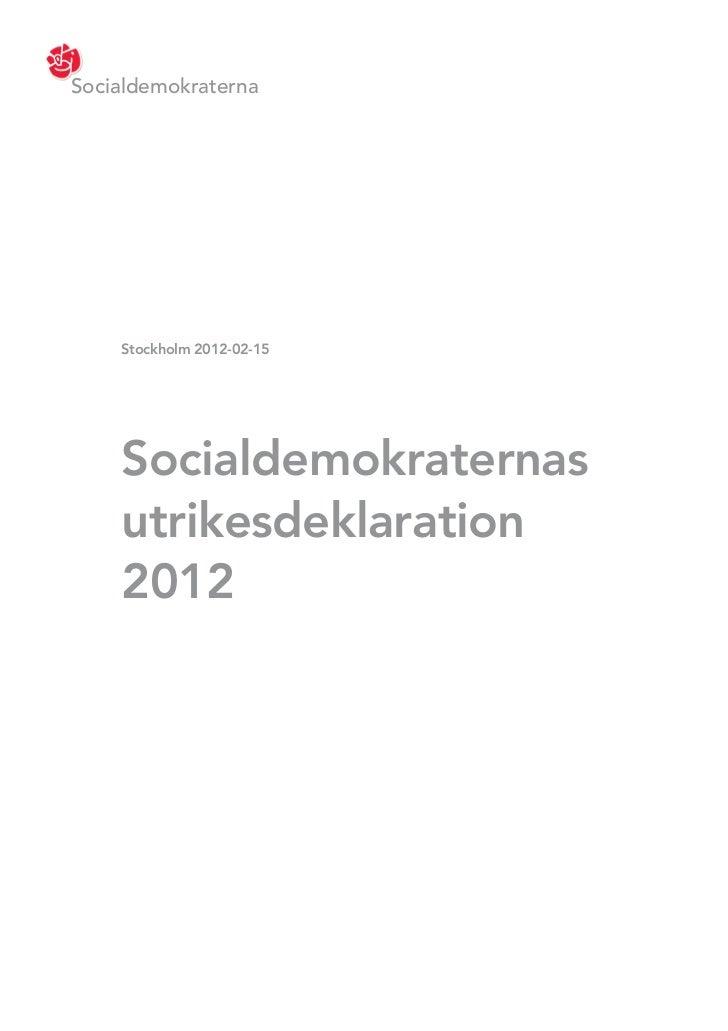 Socialdemokraternas utrikesdeklaration 2012