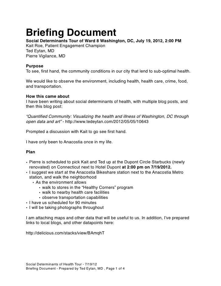 Briefing DocumentSocial Determinants Tour of Ward 8 Washington, DC, July 19, 2012, 2:00 PMKait Roe, Patient Engagement Cham...