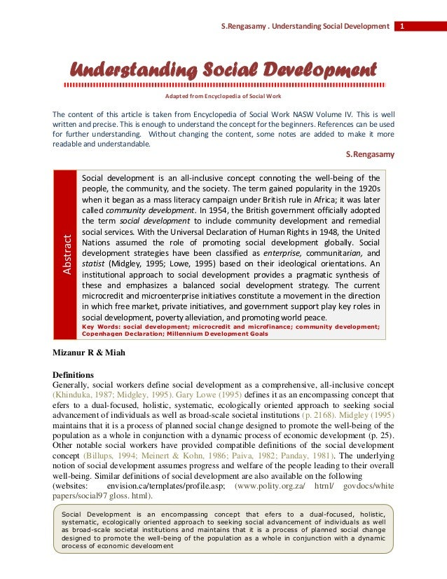 1S.Rengasamy . Understanding Social Development Understanding Social Development Adapted from Encyclopedia of Social Work ...