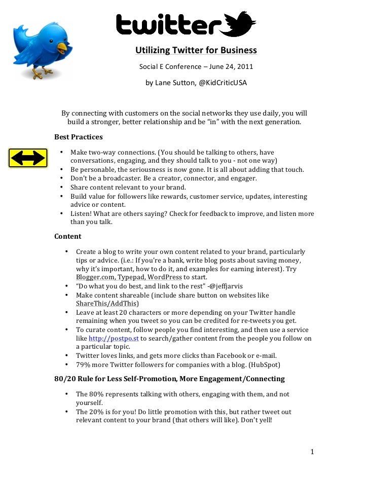 Twitter for Business, Social E Conference Handout