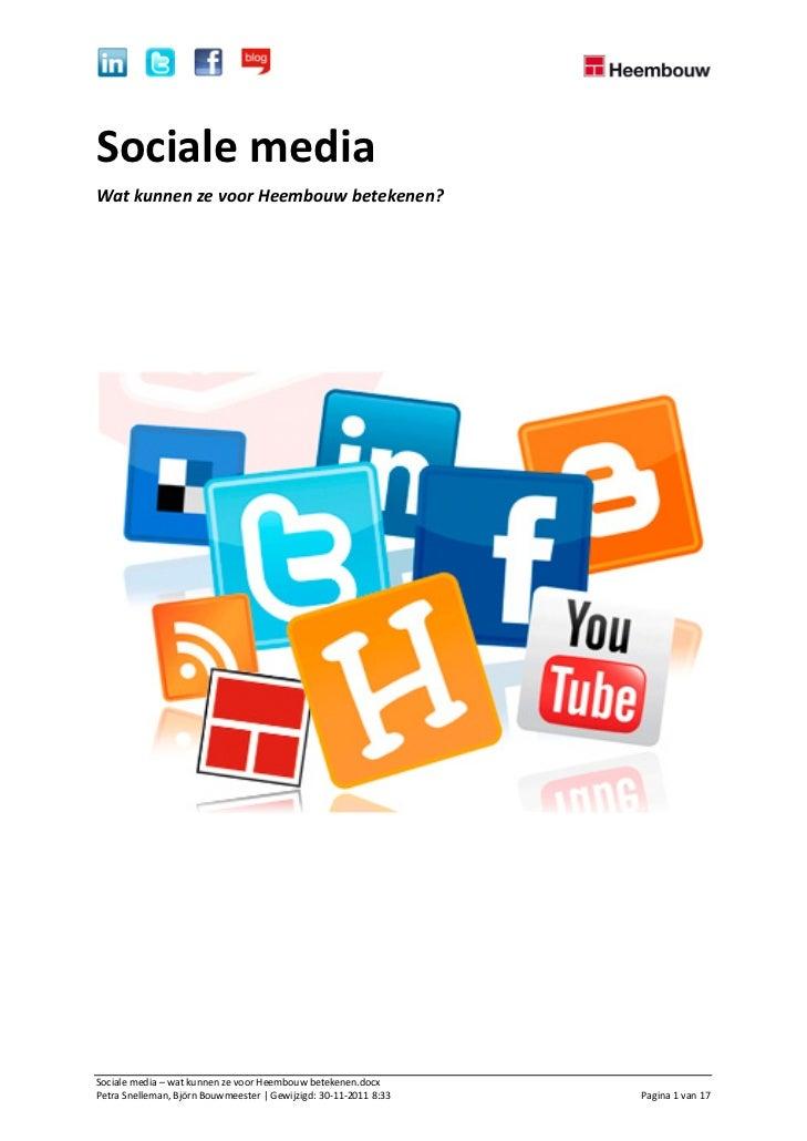 Sociale media   wat kunnen ze voor heembouw betekenen