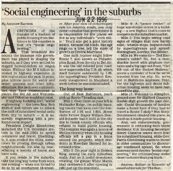 'Social engineering' in the suburbs By ANDREW RATNEB                                                       N 22 19%       ...