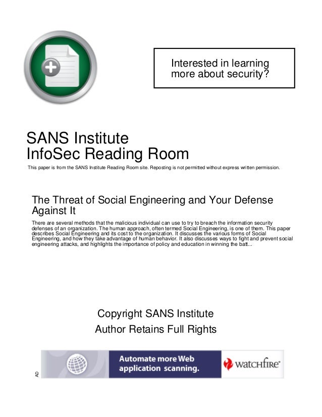 Interested in learning more about security?  SANS Institute InfoSec Reading Room This paper is from the SANS Institute Rea...