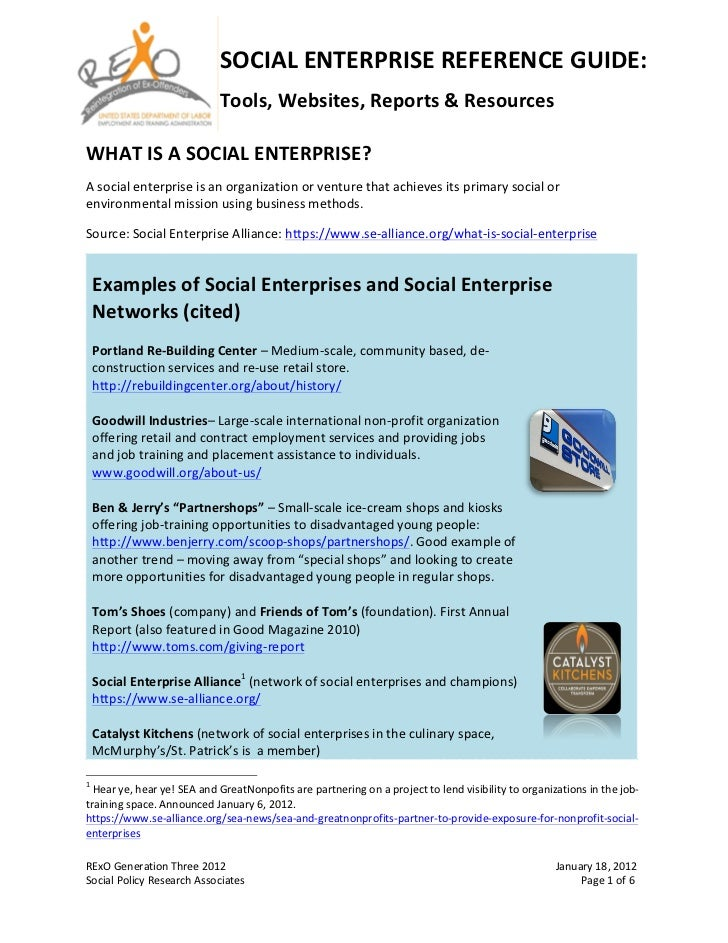 SOCIAL ENTERPRISE REFERENCE GUIDE:                                                                                ...