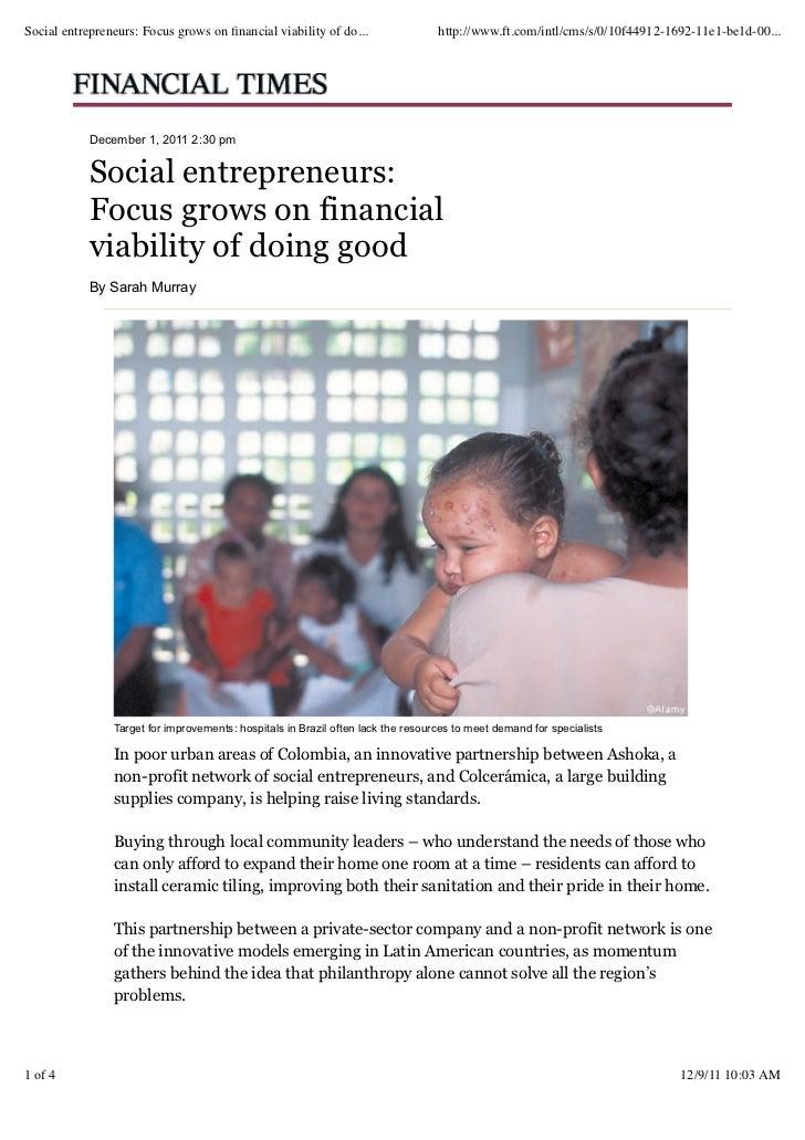 Financial Times article on Social entrepreneurship in LatAM