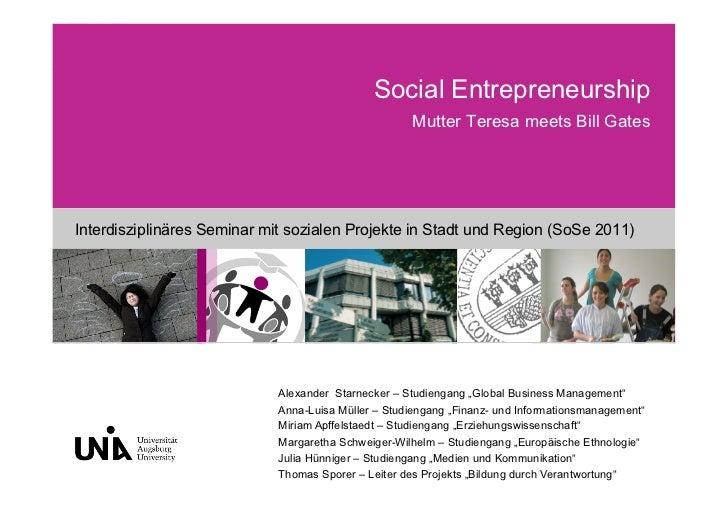 """Interdisziplinäres Projektseminar """"Social Entrepreneurship"""""""