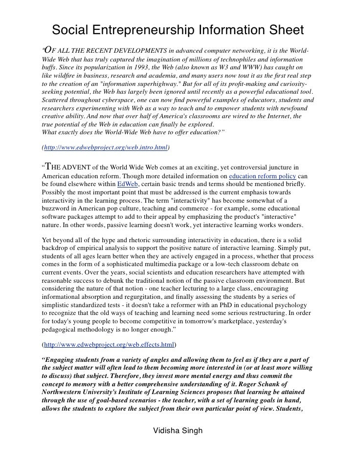 """Social Entrepreneurship Information Sheet""""OF ALL THE RECENT DEVELOPMENTS in advanced computer networking, it is the World-..."""
